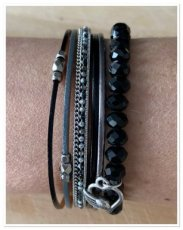0006 armband set Black sparkle