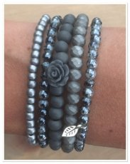 0023 armband set grey rose